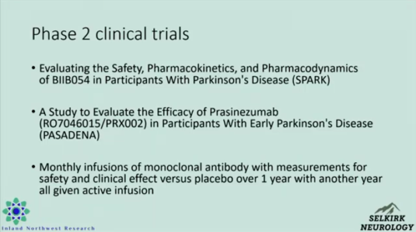 Slide about Phase 2 clinical trials for Parkinson's